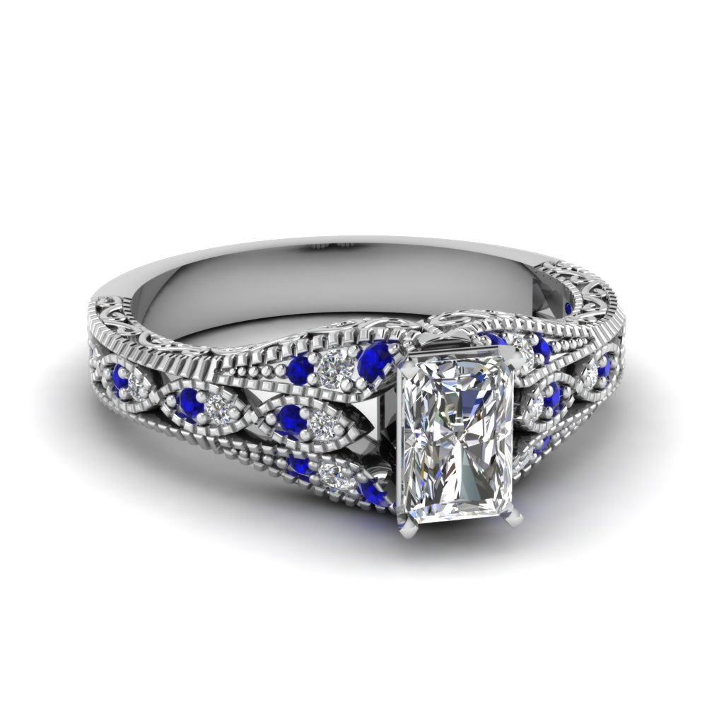 sapphire antique filigree radiant cut diamond engagement ring in FD1066RARGSABL NL WG.jpg