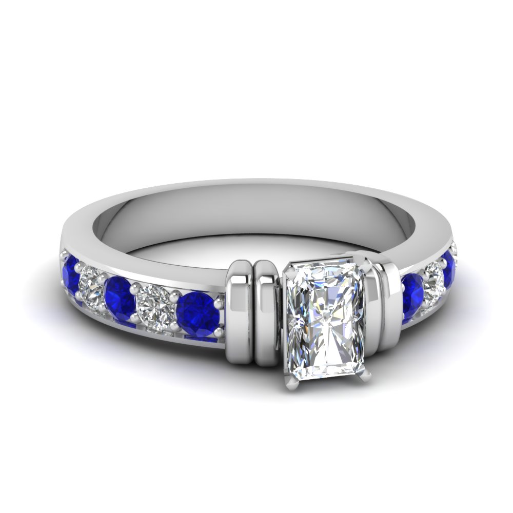 simple bar set radiant moissanite engagement ring with sapphire in FDENR957RARGSABL Nl WG