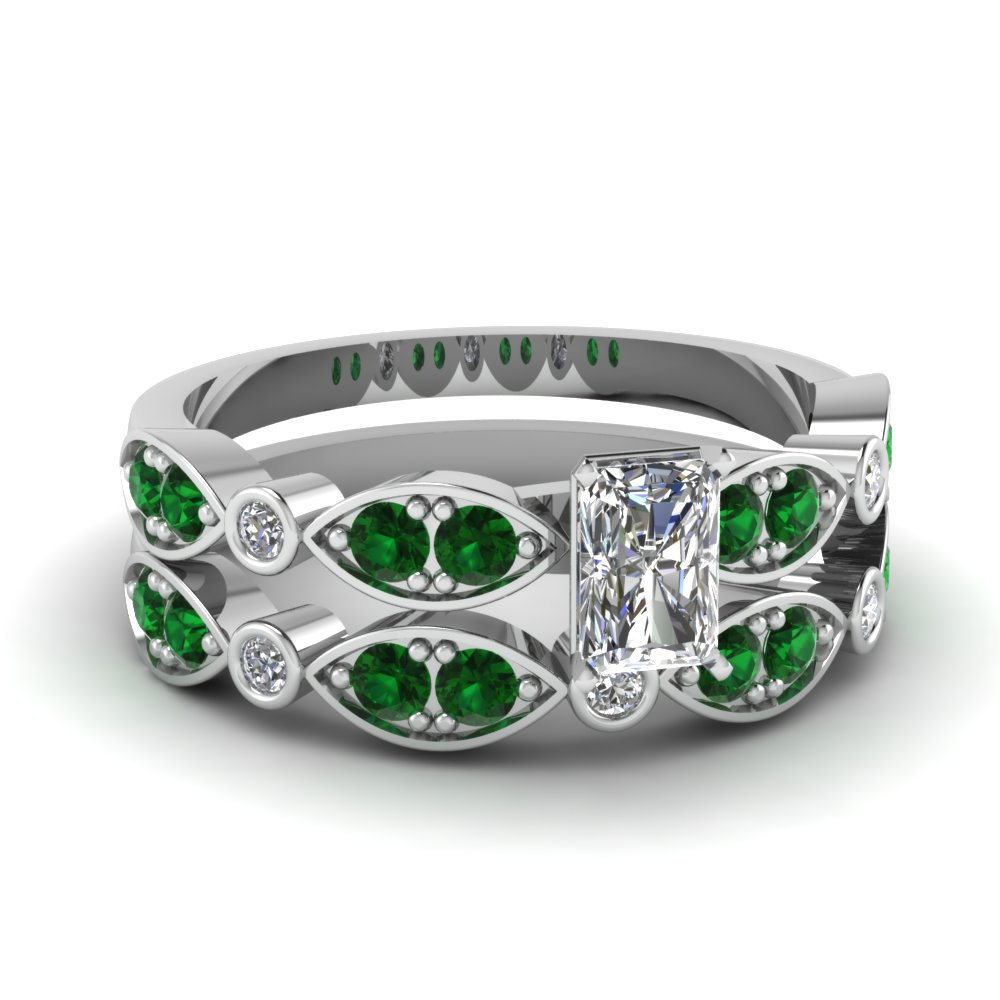 art deco radiant diamond wedding ring set with emerald in FDENS2035RAGEMGR NL WG