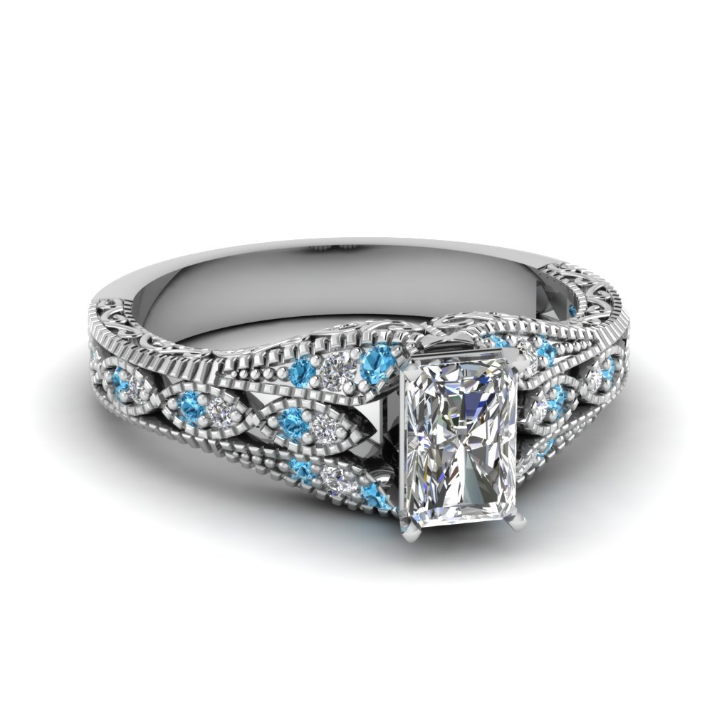 radiant cut diamond vintage engagement rings with ice blue topaz in 14k white gold - Topaz Wedding Ring