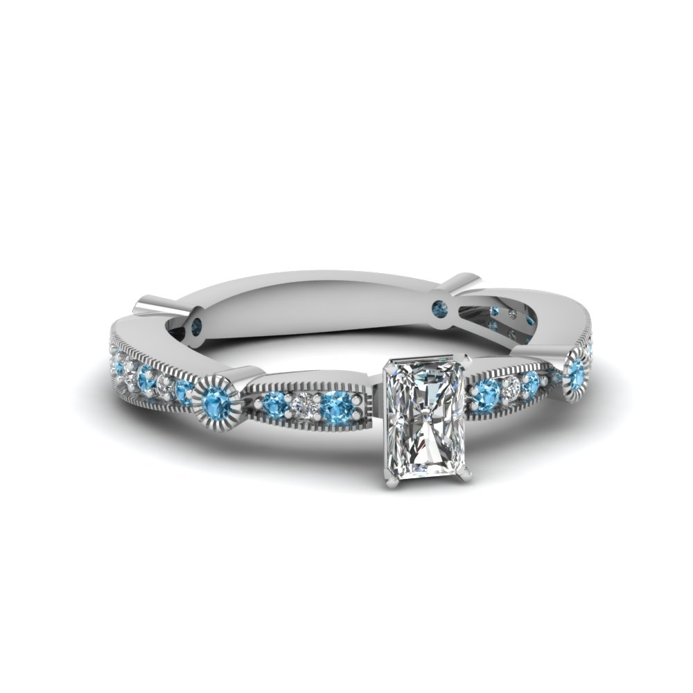 radiant diamond vintage tapered engagement ring with blue topaz in FDENS3026RARGICBLTO NL WG