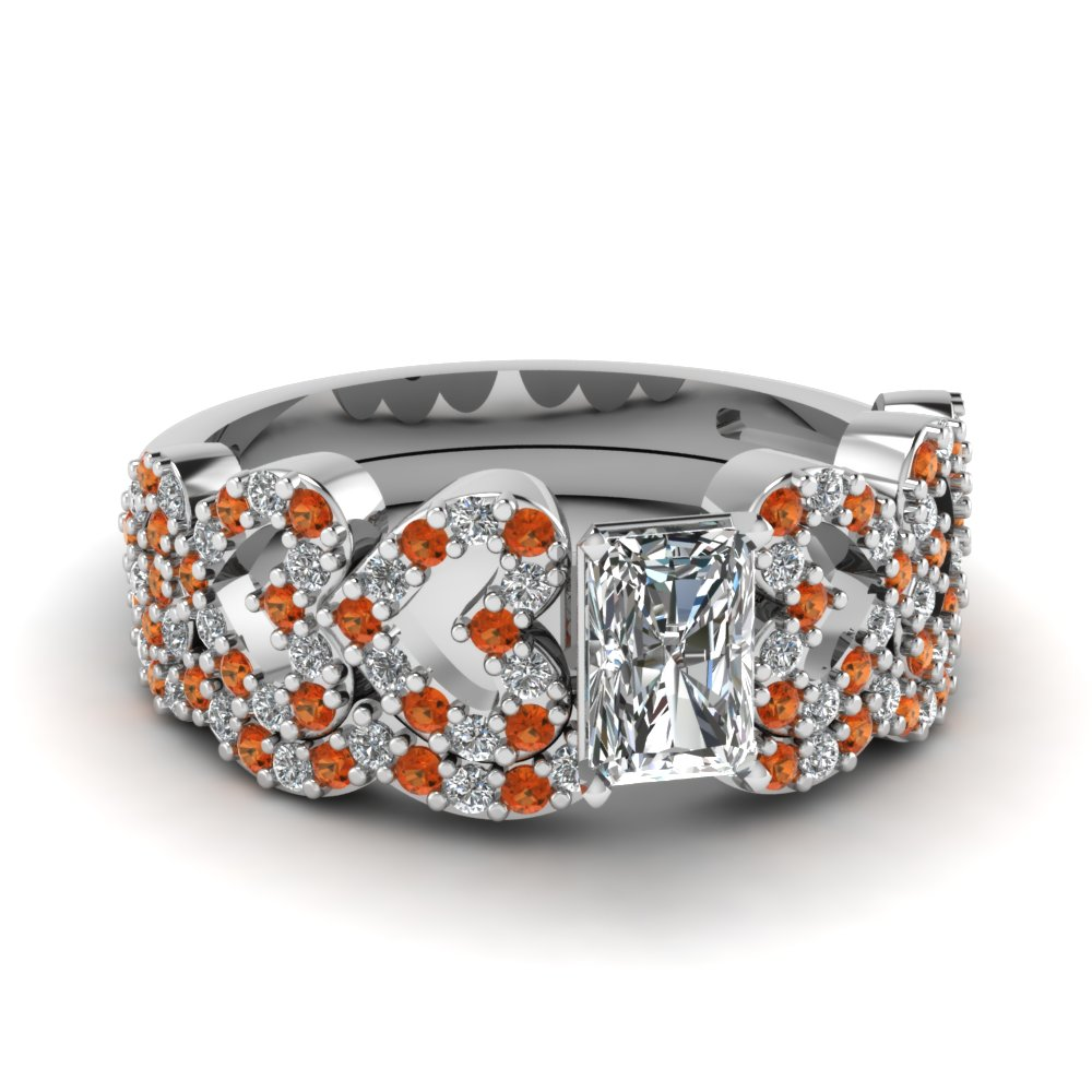 radiant cut heart design linked diamond wedding set with orange sapphire in FDENS3051RAGSAOR NL WG.jpg