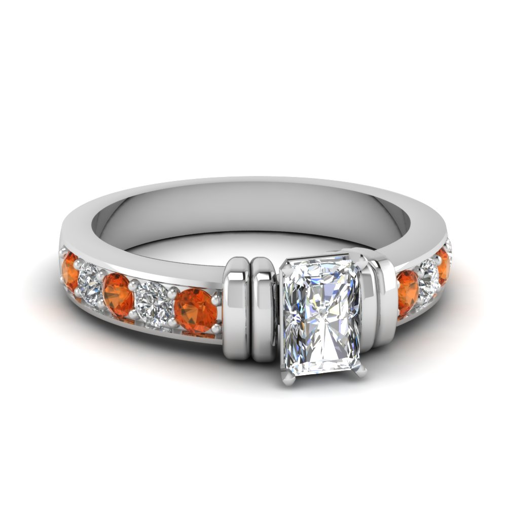 simple bar set radiant lab diamond engagement ring with orange sapphire in FDENR957RARGSAOR Nl WG