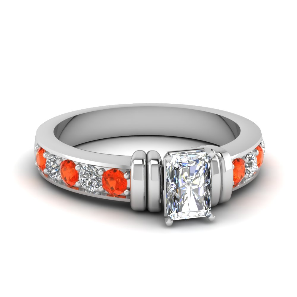 simple bar set radiant moissanite engagement ring with orange topaz in FDENR957RARGPOTO Nl WG