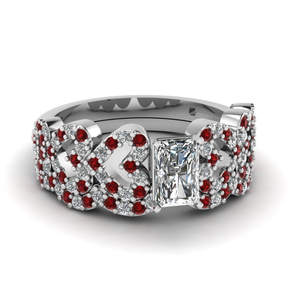 radiant cut heart design linked diamond wedding set with ruby in FDENS3051RAGRUDR NL WG.jpg