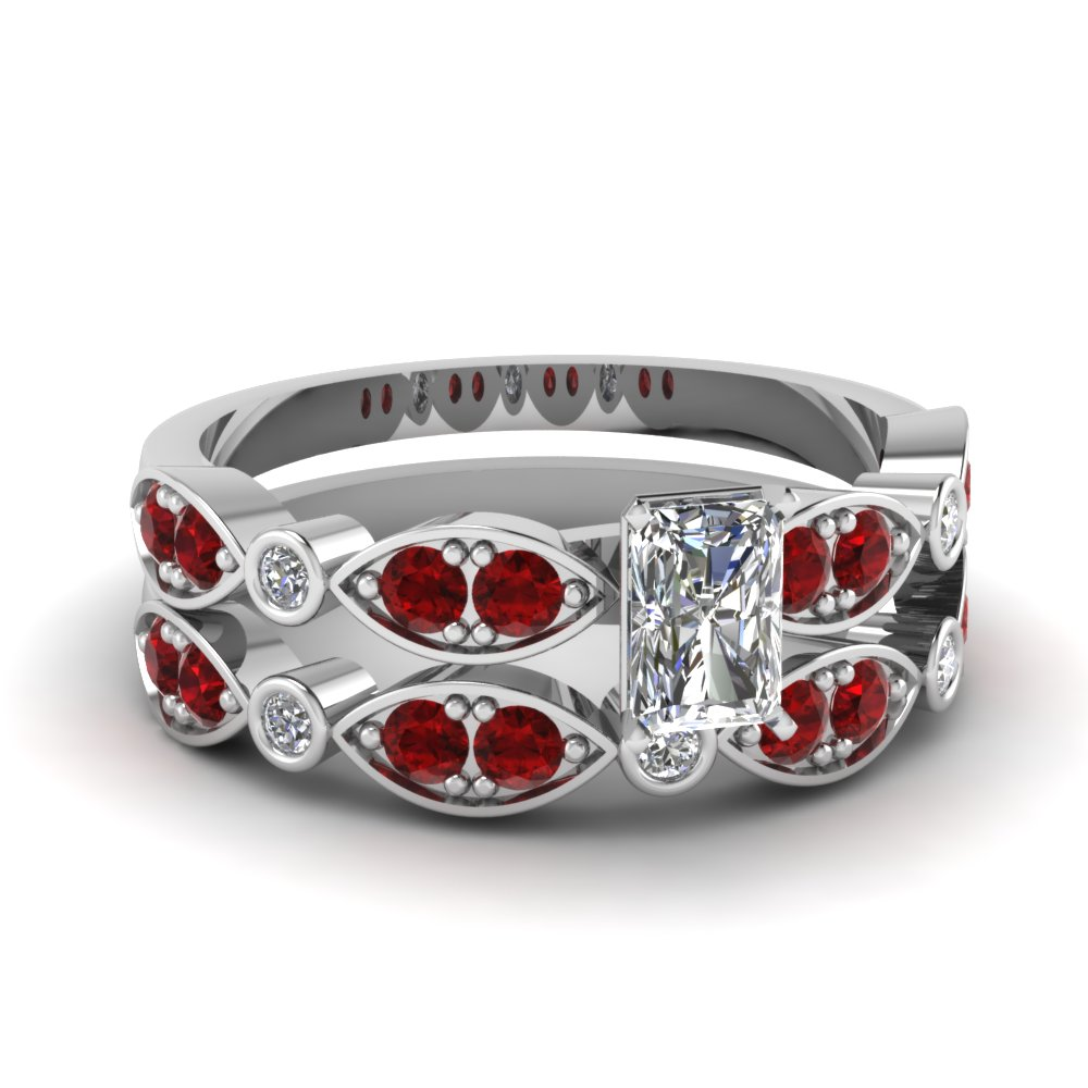art deco radiant diamond wedding ring set with ruby in FDENS2035RAGRUDR NL WG