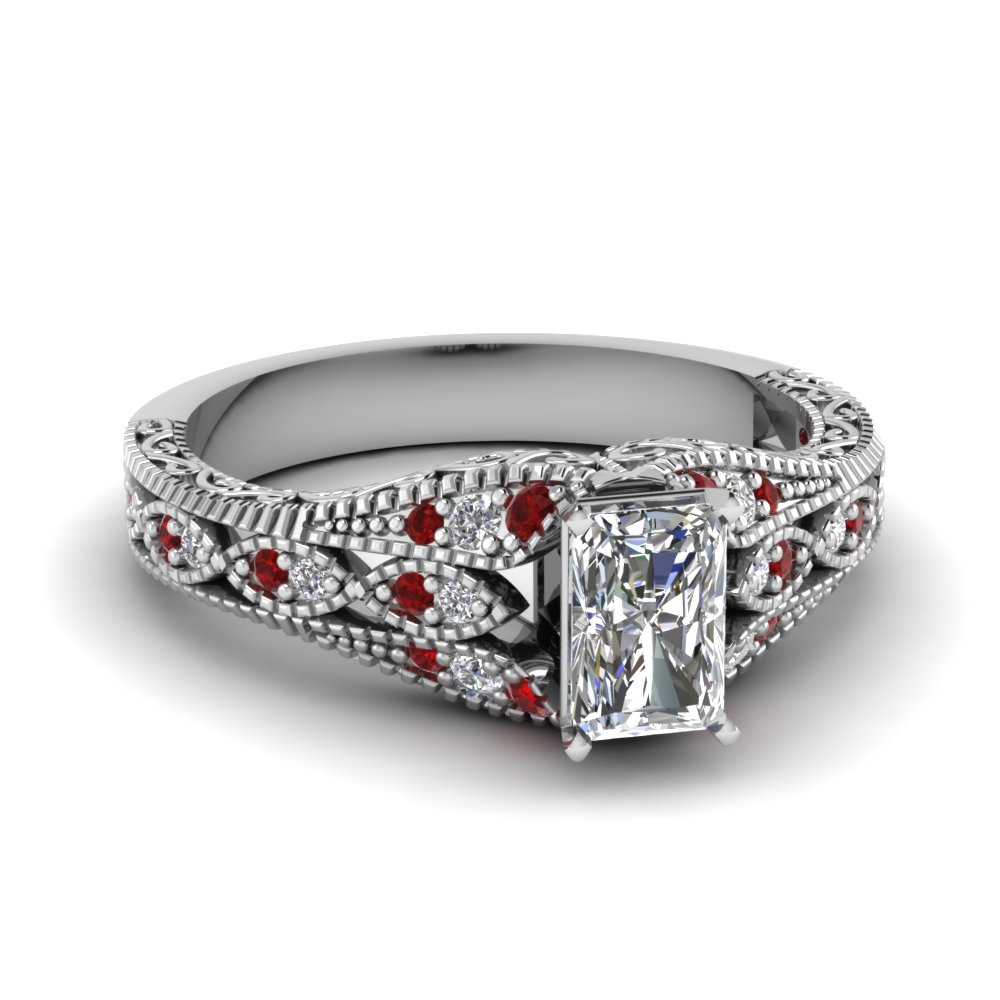 ruby antique filigree radiant cut diamond ring in fd1066rargrudr nl wgjpg - Vintage Wedding Rings Sets