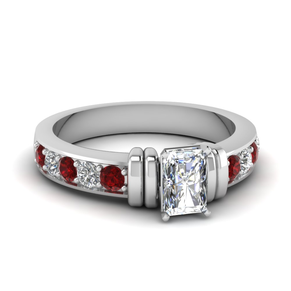 simple bar set radiant diamond engagement ring with ruby in FDENR957RARGRUDR Nl WG