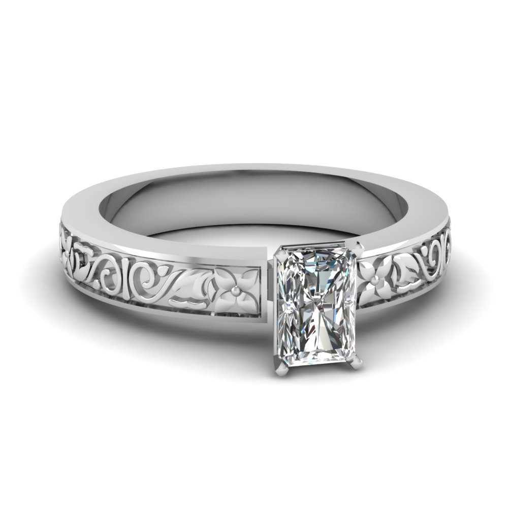 flower carved radiant cut solitaire engagement ring in FDENS3507RAR NL WG