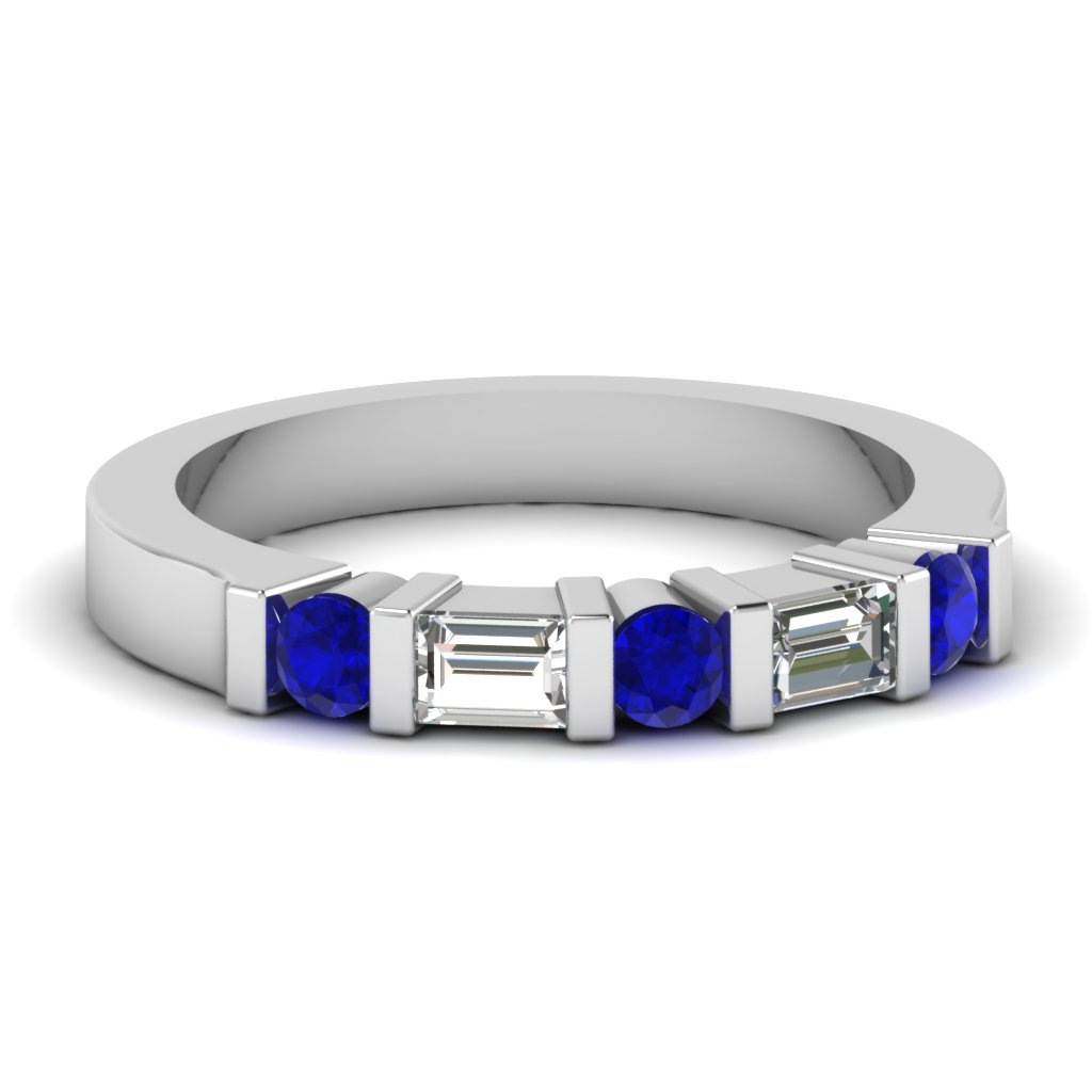 White Gold Round Baguette Blue Sapphire Wedding Band With White