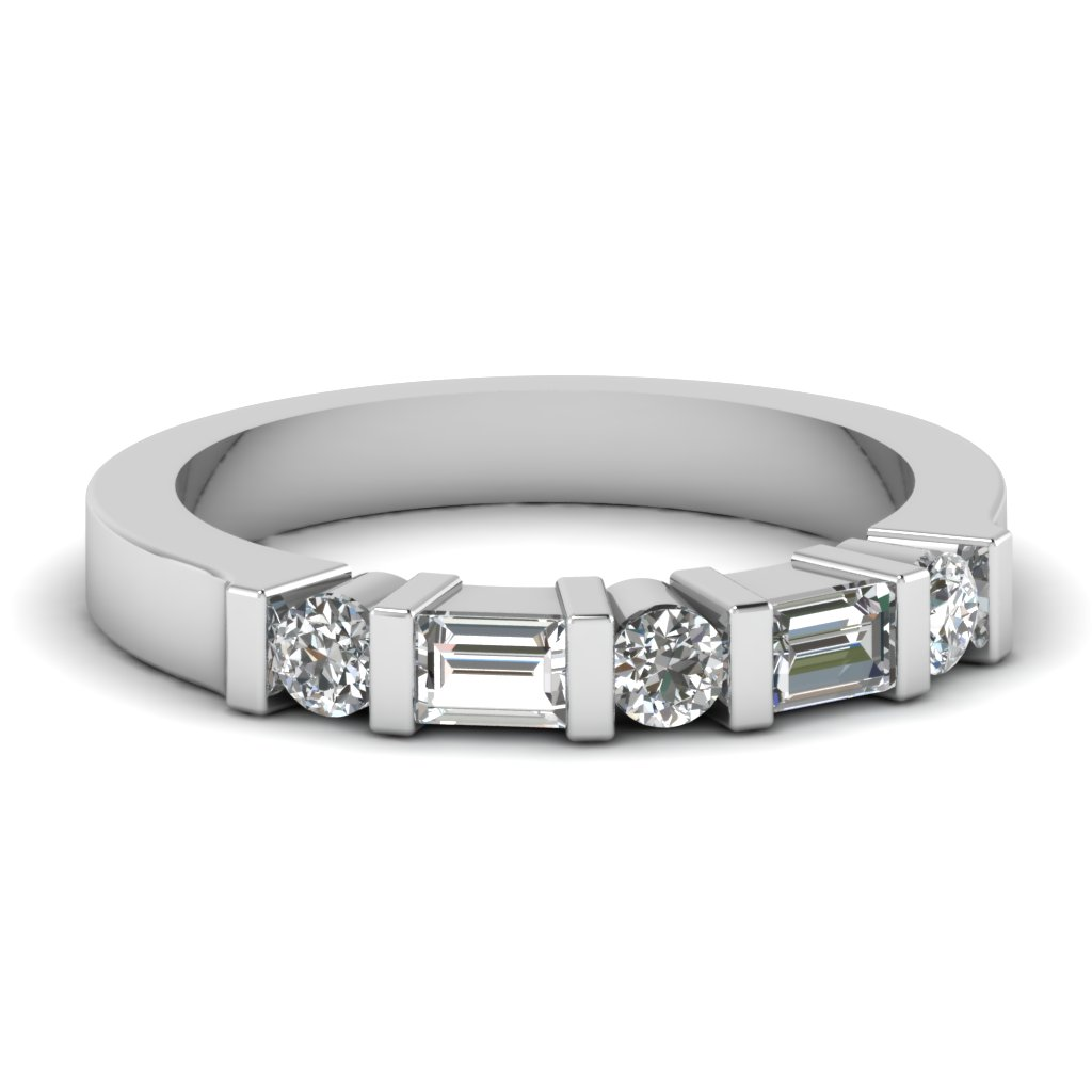Round & Baguette Vintage Wedding Band In White Gold