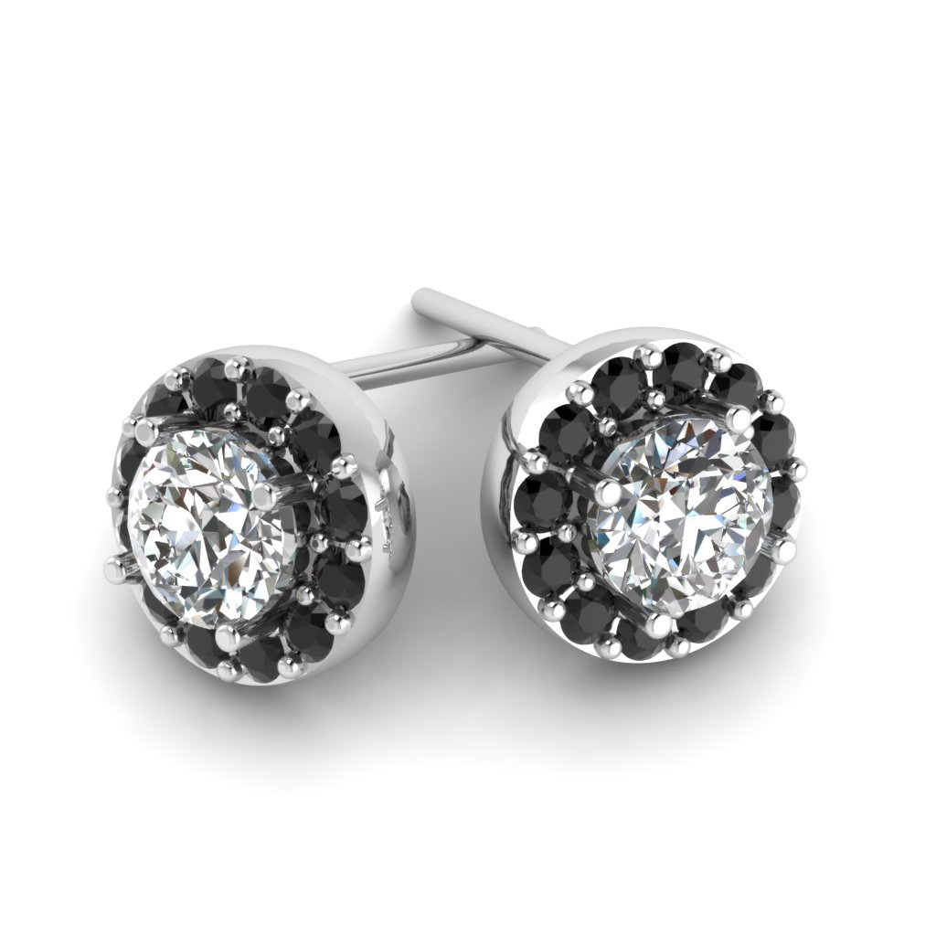 Black Diamond Halo Round Stud Earrings