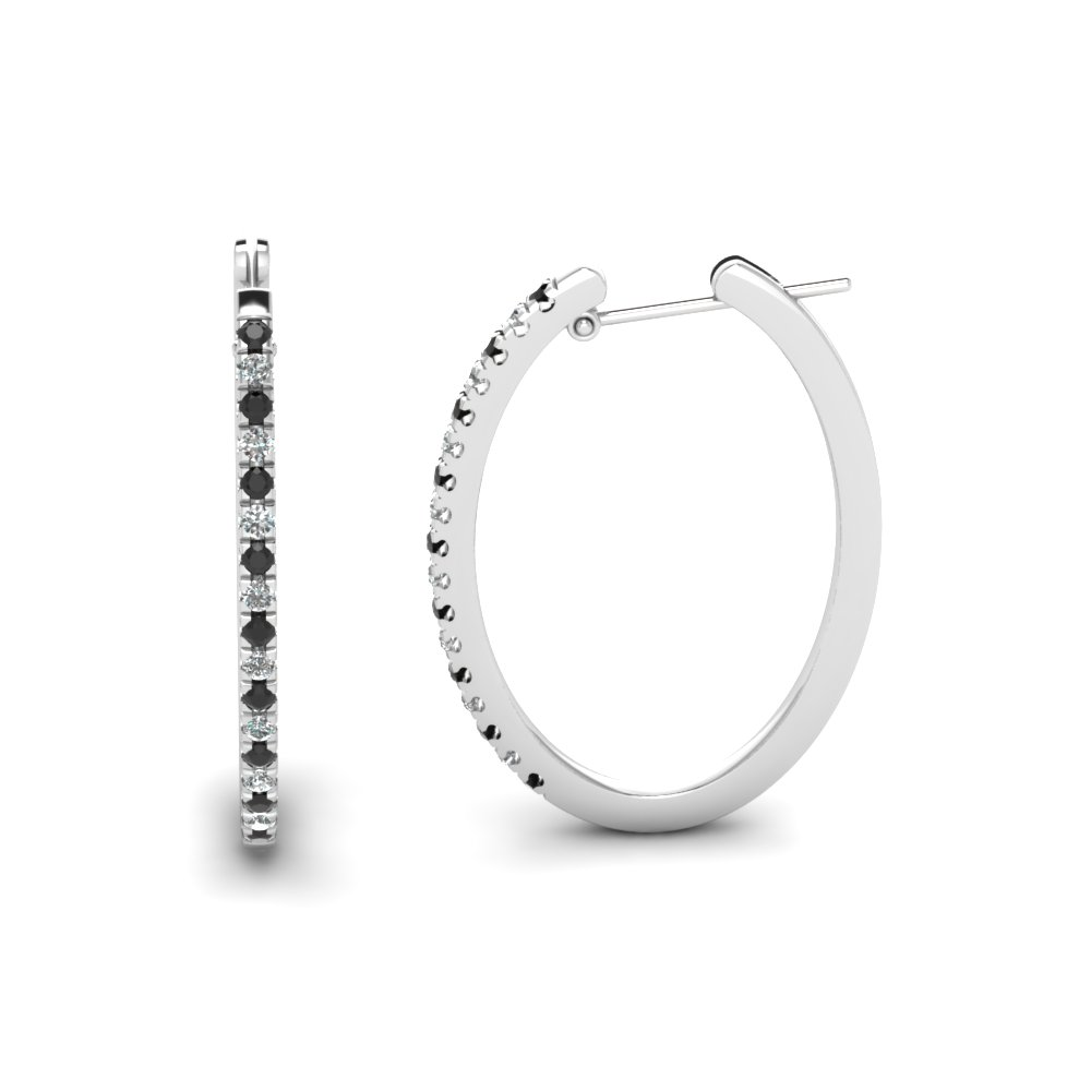 Black Diamond Hoop Earring