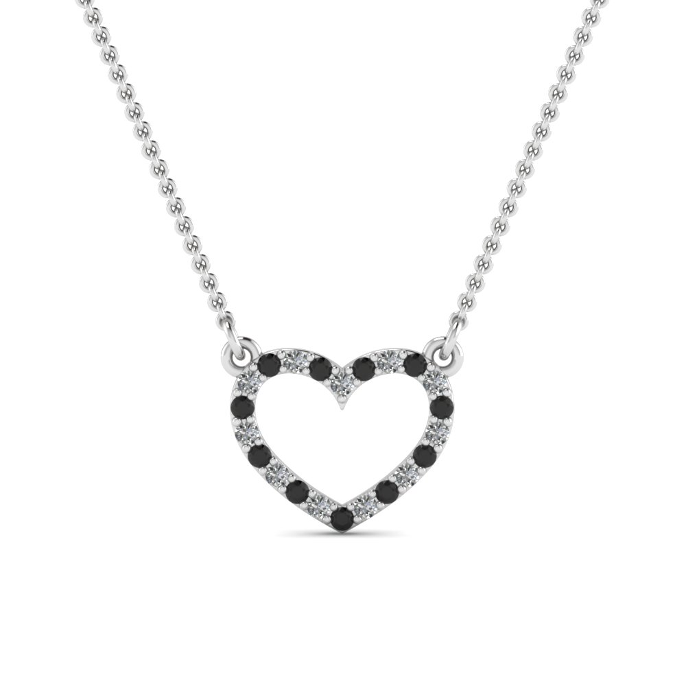 open heart and black diamond pendant in FDPD66415GBLACK NL WG