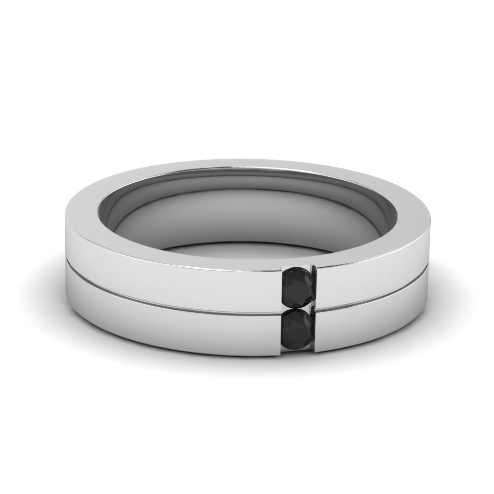 stripe accent mens band - Mens White Gold Wedding Rings