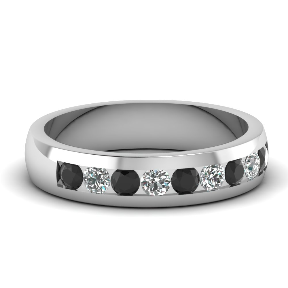 mens wedding rings with black diamond in 14k white gold - Mens Black Diamond Wedding Rings