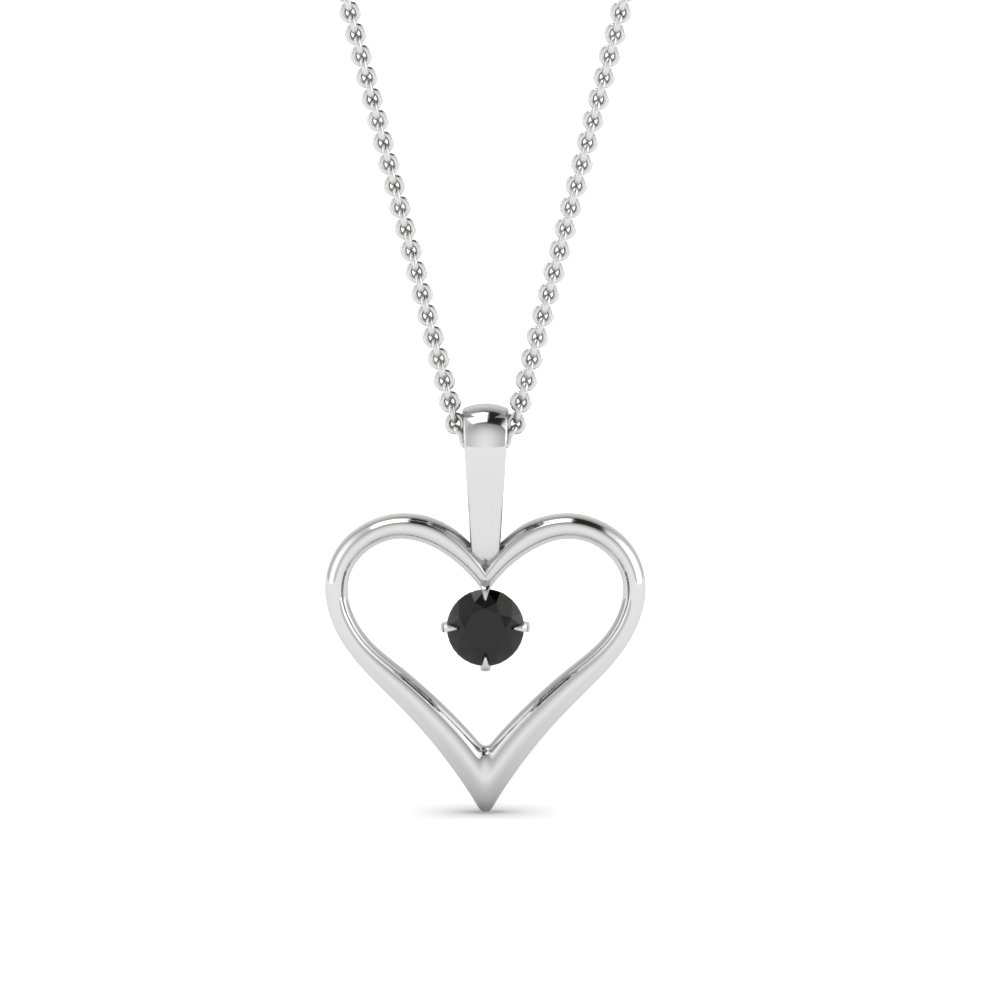 open heart black diamond solitaire drop pendant in FDPD60961GBLACK NL WG
