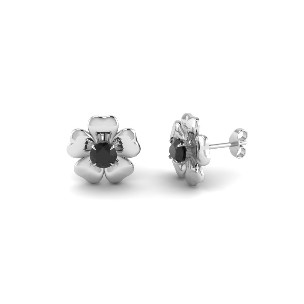 Silver Black Diamond Flower Stud Earring Fdear1076gblack Nl Wg