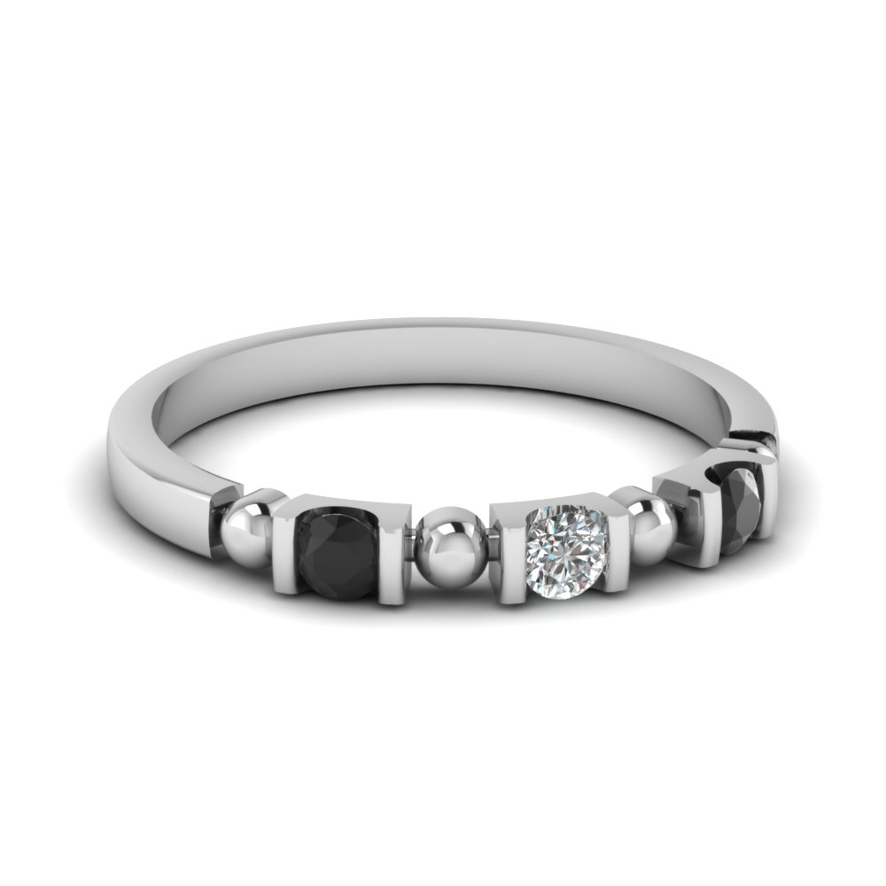 semi bezel 3 stone with bead wedding band with black diamond in FDWB1408BGBLACK NL WG
