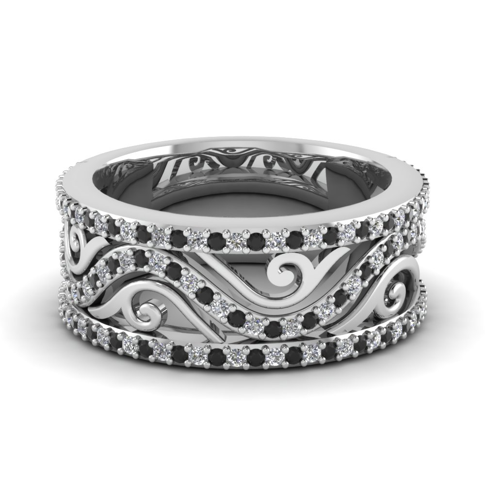 Black Diamond Filigree Wedding Band