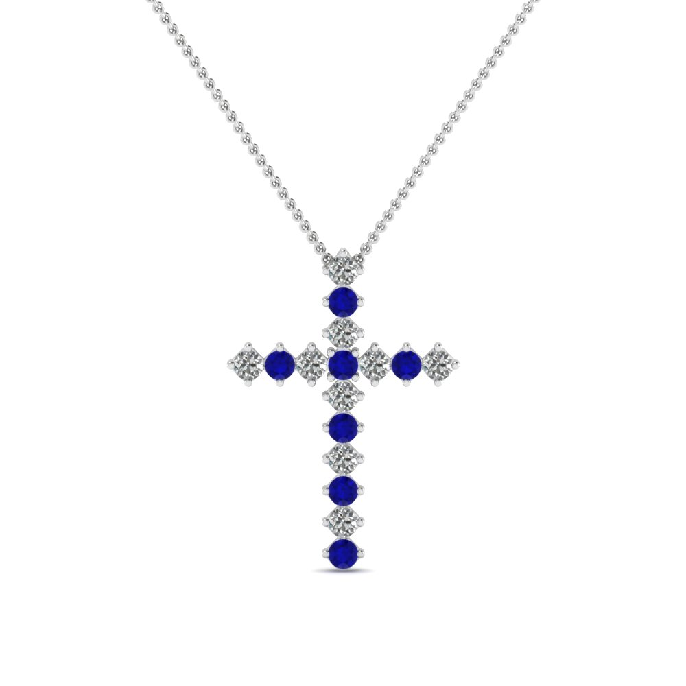 white-gold-round-blue-sapphire-cross-religious-pendant-with-white-diamond-in-prong-set-FDRPD203GSABL-NL-WG