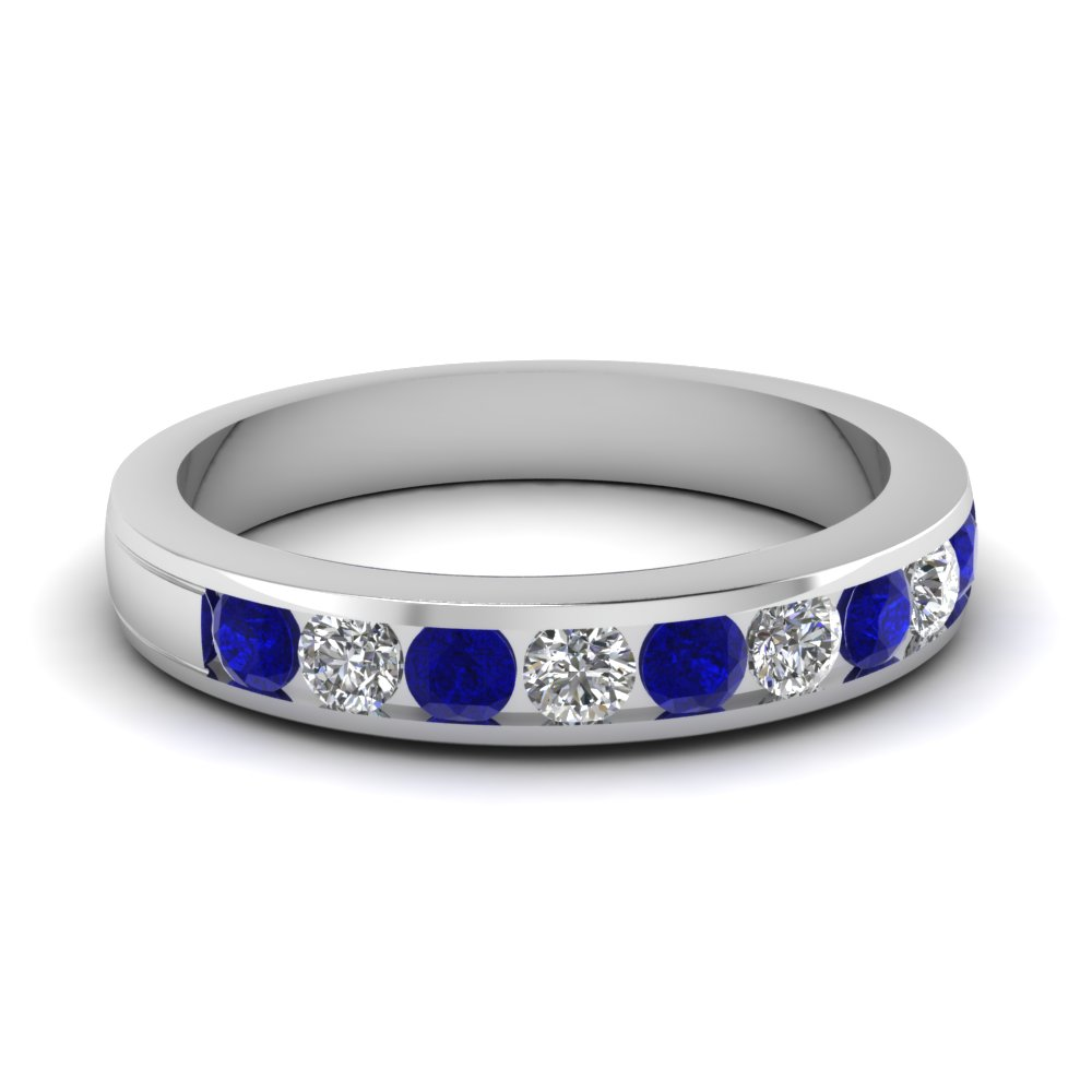 Round Diamond Channel Wedding Band With Sapphire In 14K White Gold