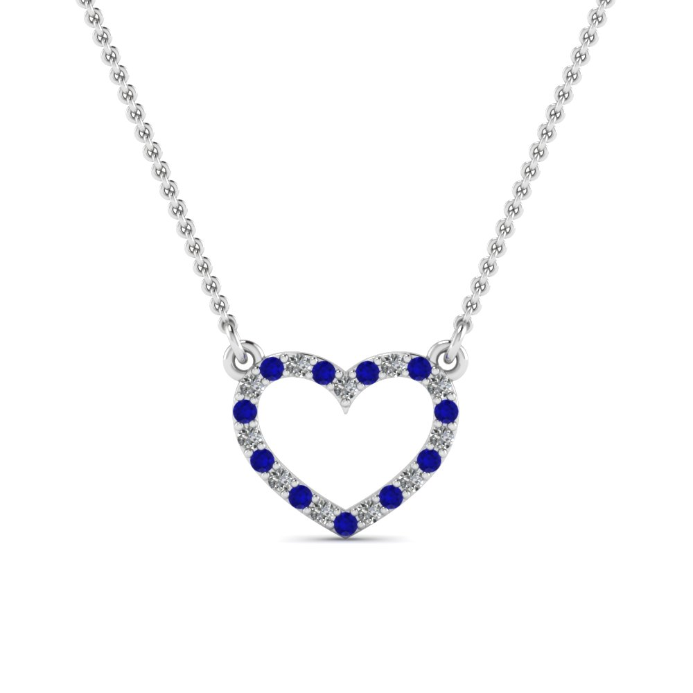 open heart diamond and sapphire pendant in FDPD66415GSABL NL WG