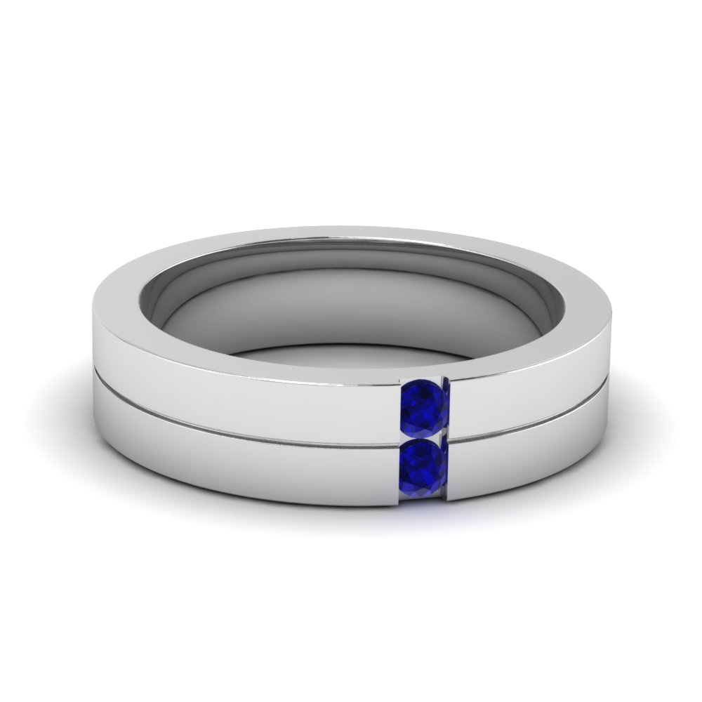 Mens 2 Stone Wedding Ring With Sapphire In 14K White Gold