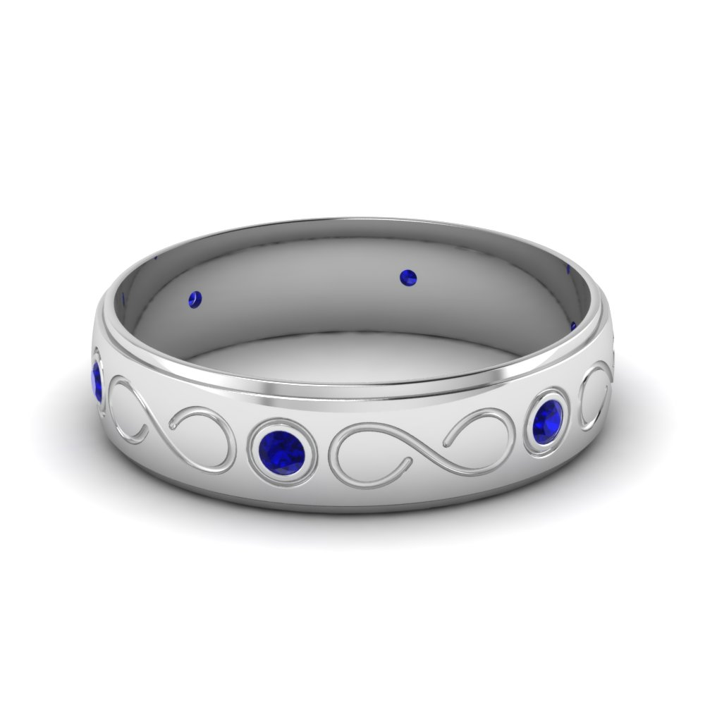 Infinity Sapphire Mens Wedding Band in Platinum