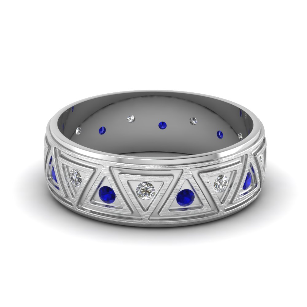 White Gold Round Blue Sapphire Mens Wedding Band With White