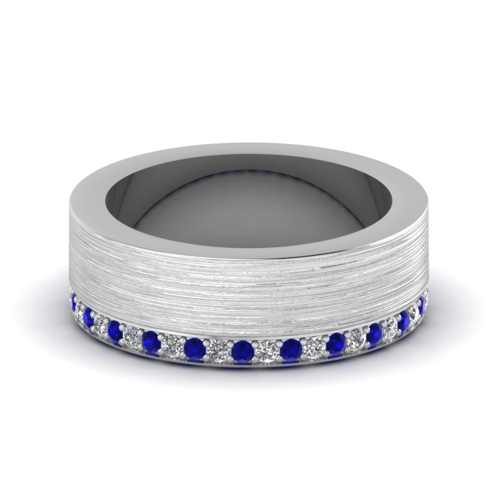 Brushed Diamond Wedding Band With Sapphire In 14K White Gold ...