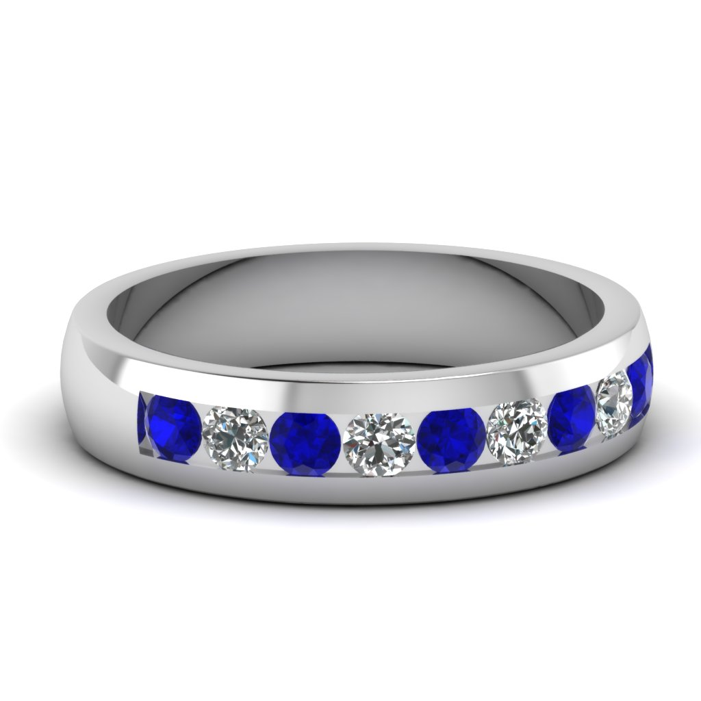 White gold round blue sapphire mens wedding ring with for Mens wedding ring with blue diamonds