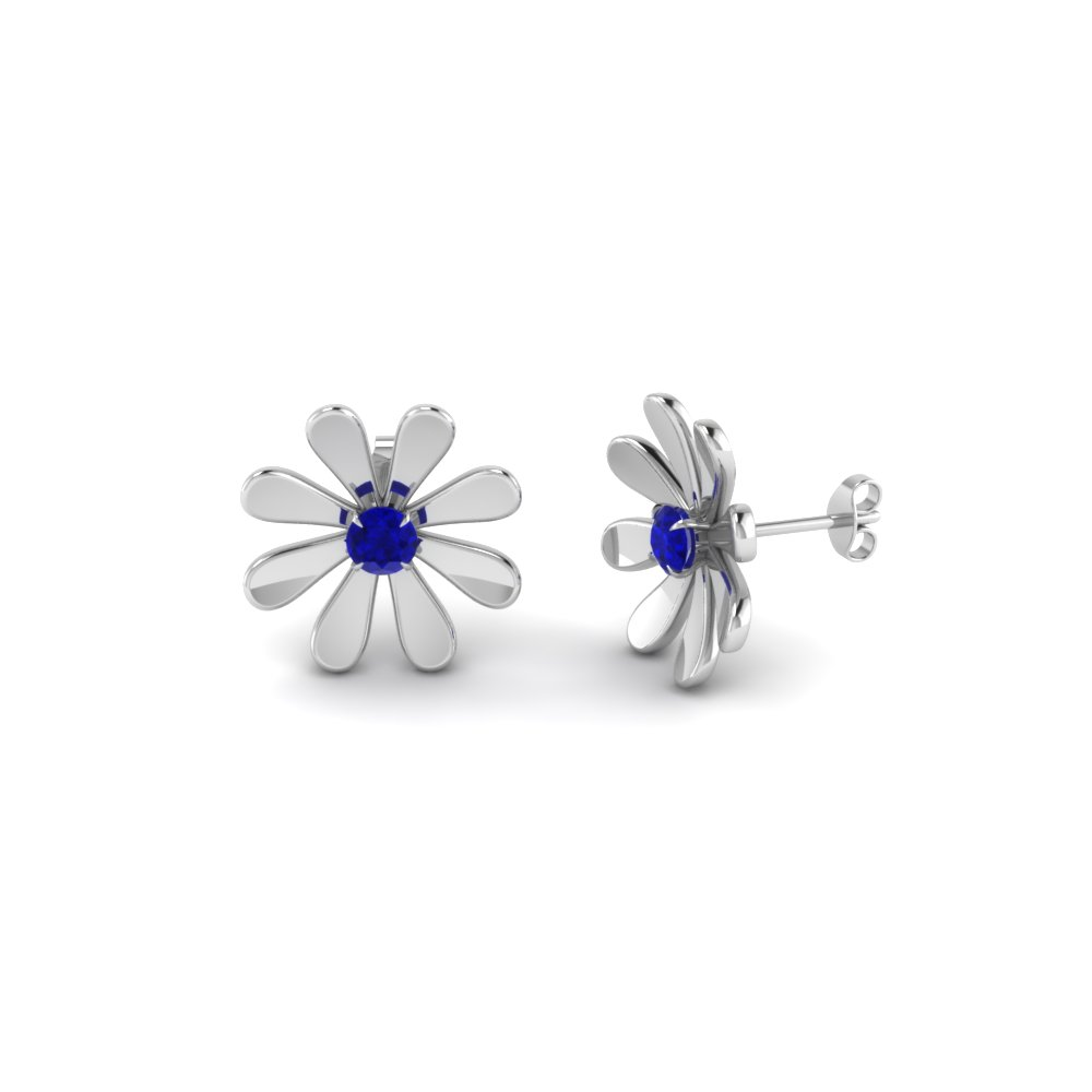 edc5b0172 Fancy Flower Sapphire Stud Earring In 14K White Gold | Fascinating ...