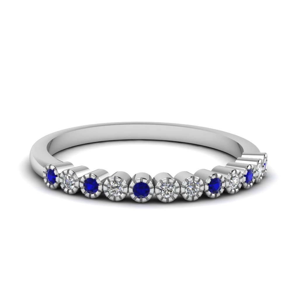 bezel round diamond thin wedding band with sapphire in FD121390BGSABL NL WG