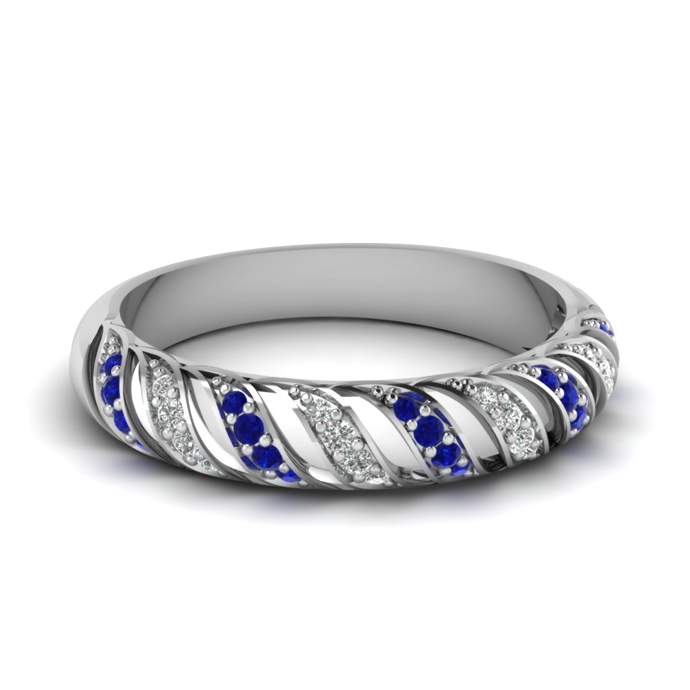 Rope Design Sapphire Band