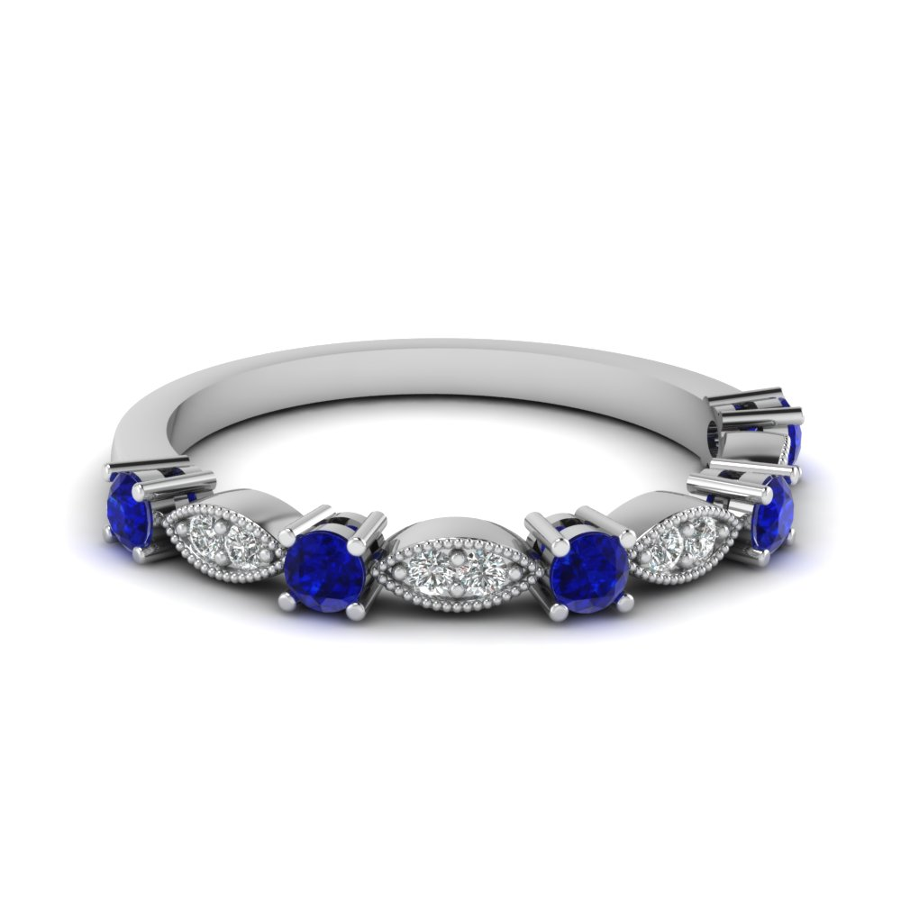Art Deco Round Diamond Wedding Band With Sapphire In 14K White Gold