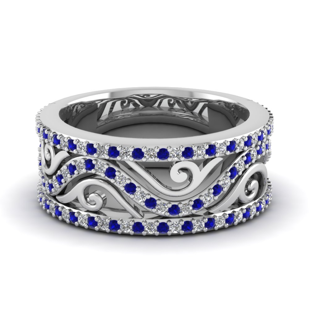 sapphire filigree wide diamond wedding band in FD121691BGSABL NL WG