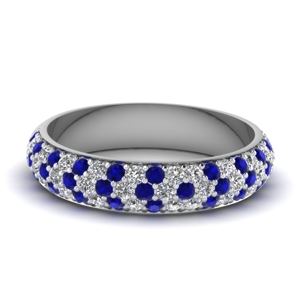 micro pave diamond wedding band with sapphire in FD9125BGSABL NL WG
