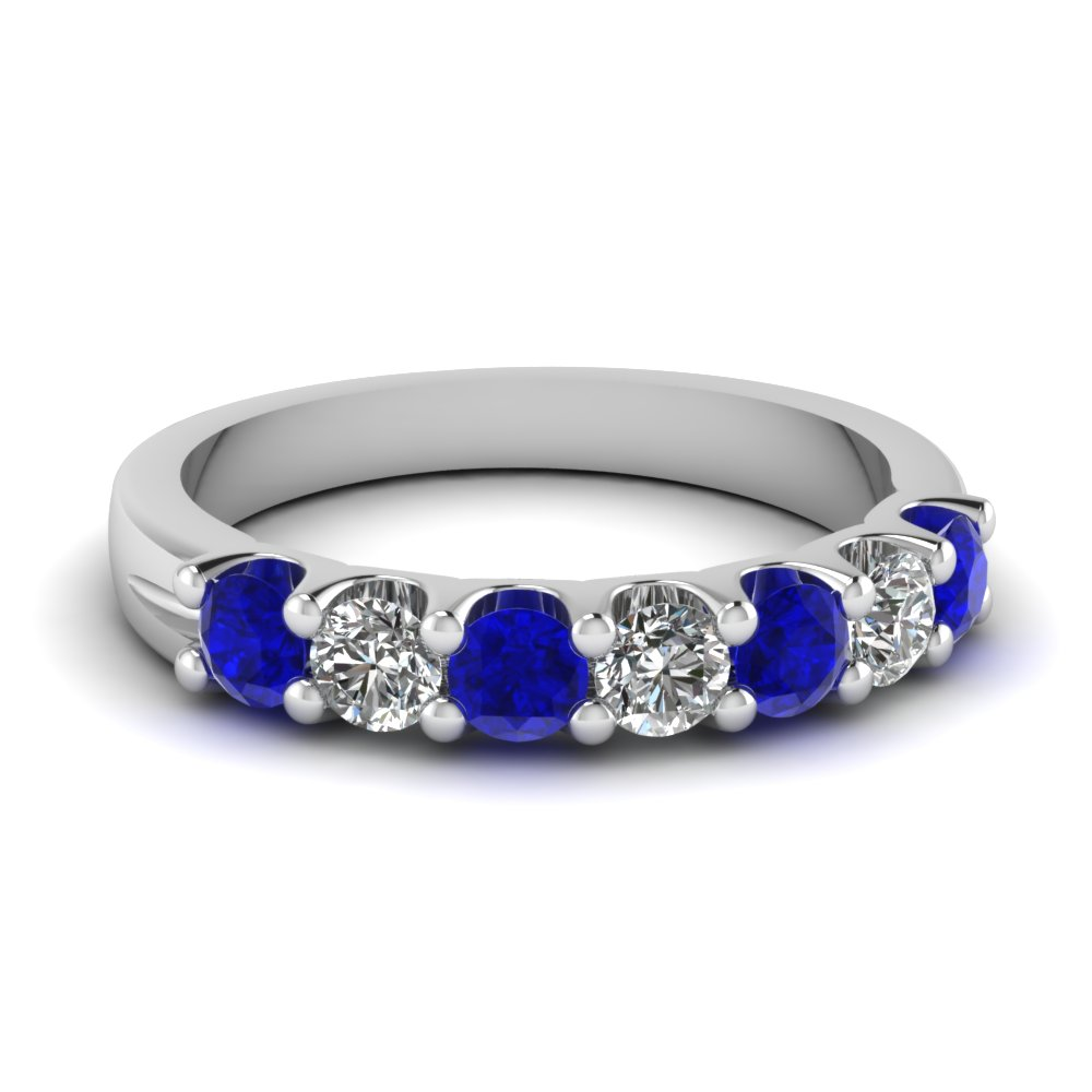 Sapphire 7 Stone Round Diamond Anniversary Band In 14K White Gold