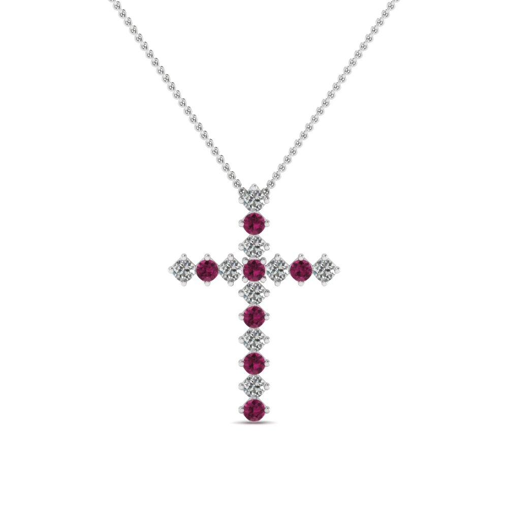 white-gold-round-dark-pink-sapphire-cross-religious-pendant-with-white-diamond-in-prong-set-FDRPD203GSADRPI-NL-WG
