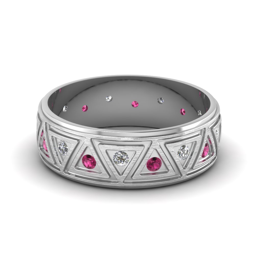 Brushed Finish Pink Sapphire Band