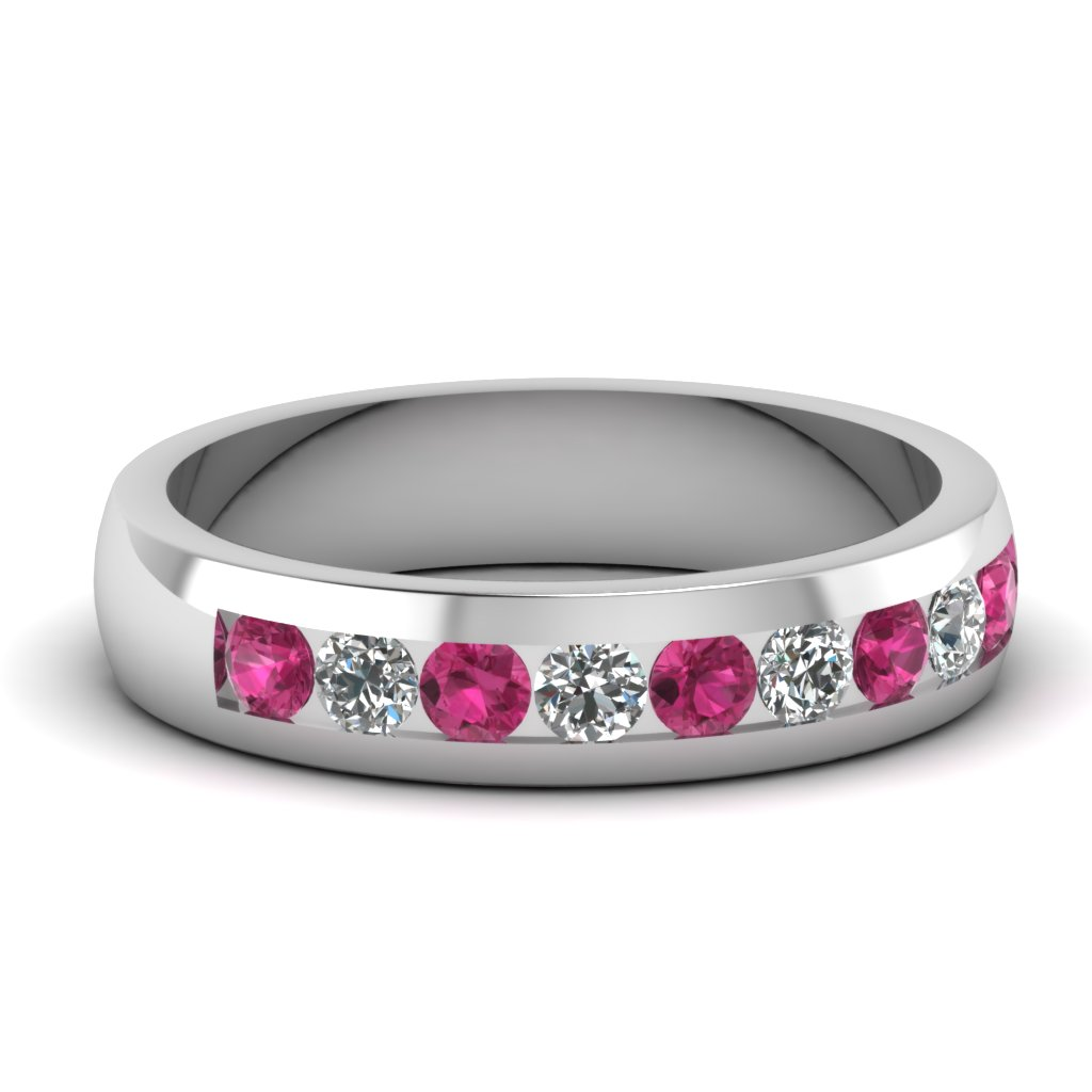 mens wedding rings with pink sapphire in 950 platinum - Mens Wedding Rings Platinum