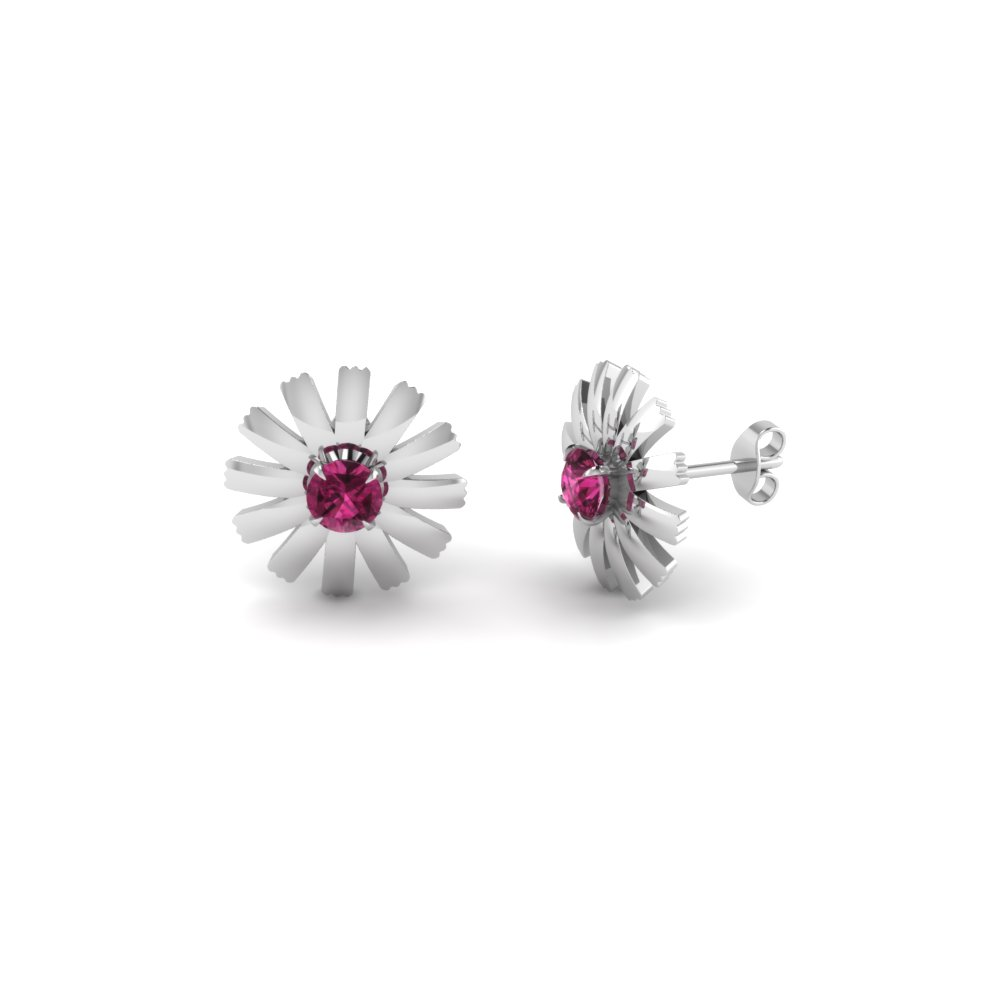 Unique Pink Sapphire Stud Earrings