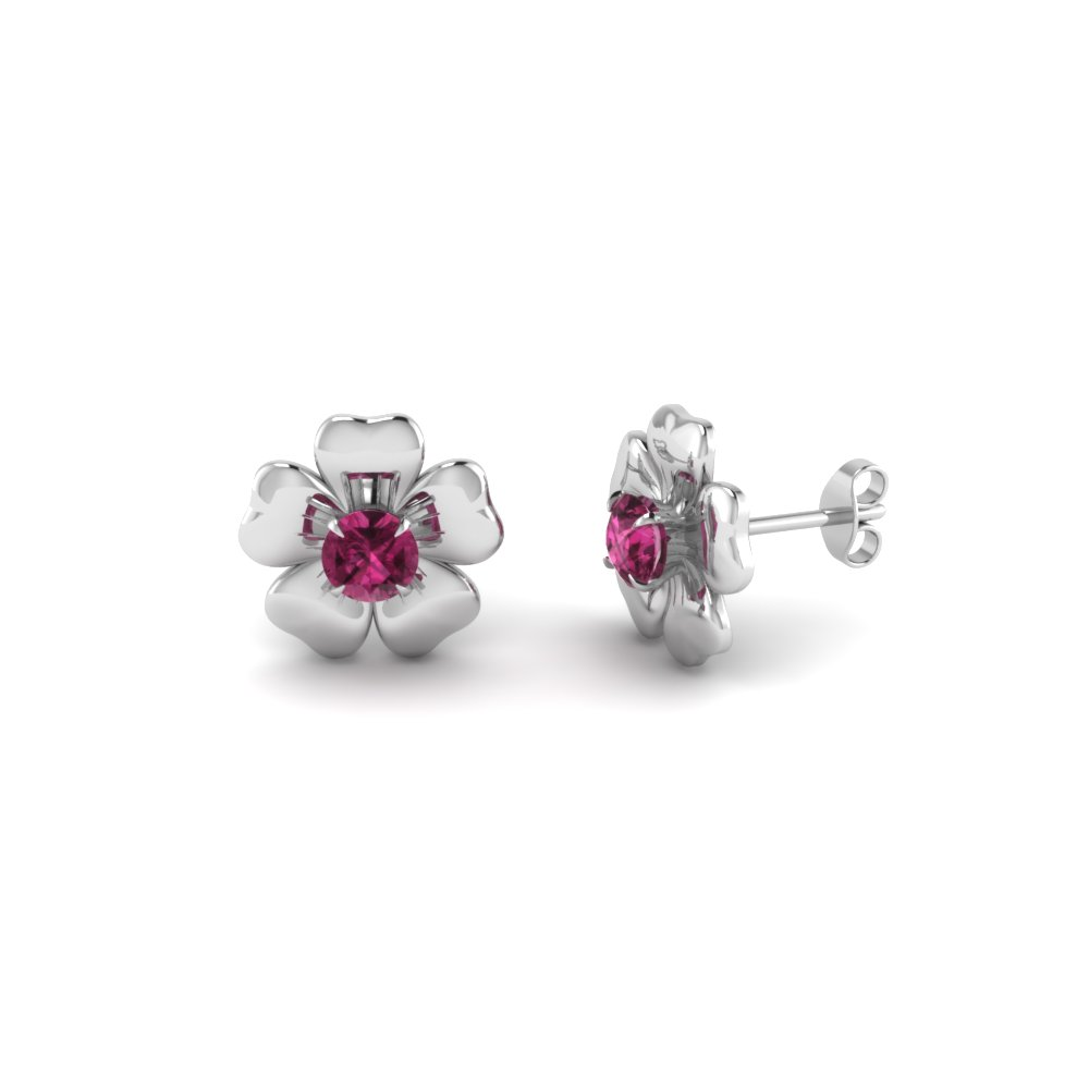 white-gold-round-dark-pink-sapphire-stud-earring-in-prong-set-FDEAR1076GSADRPI-NL-WG