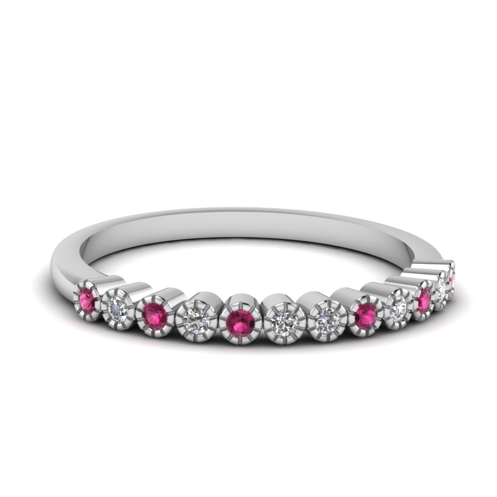 bezel round diamond thin wedding band with pink sapphire in FD121390BGSADRPI NL WG