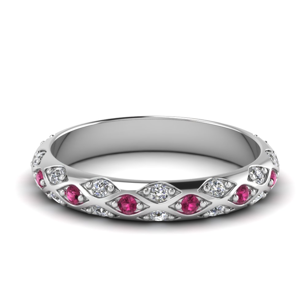 pave cross diamond wedding band with pink sapphire in 950 platinum FD121962BGSADRPI NL WG