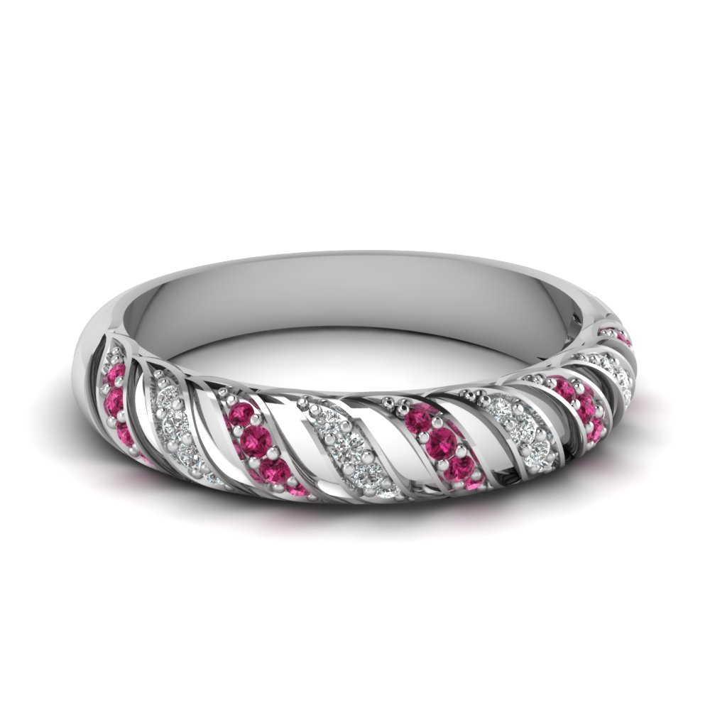pink sapphire rope design diamond wedding band in FD67809BGSADRPI NL WG