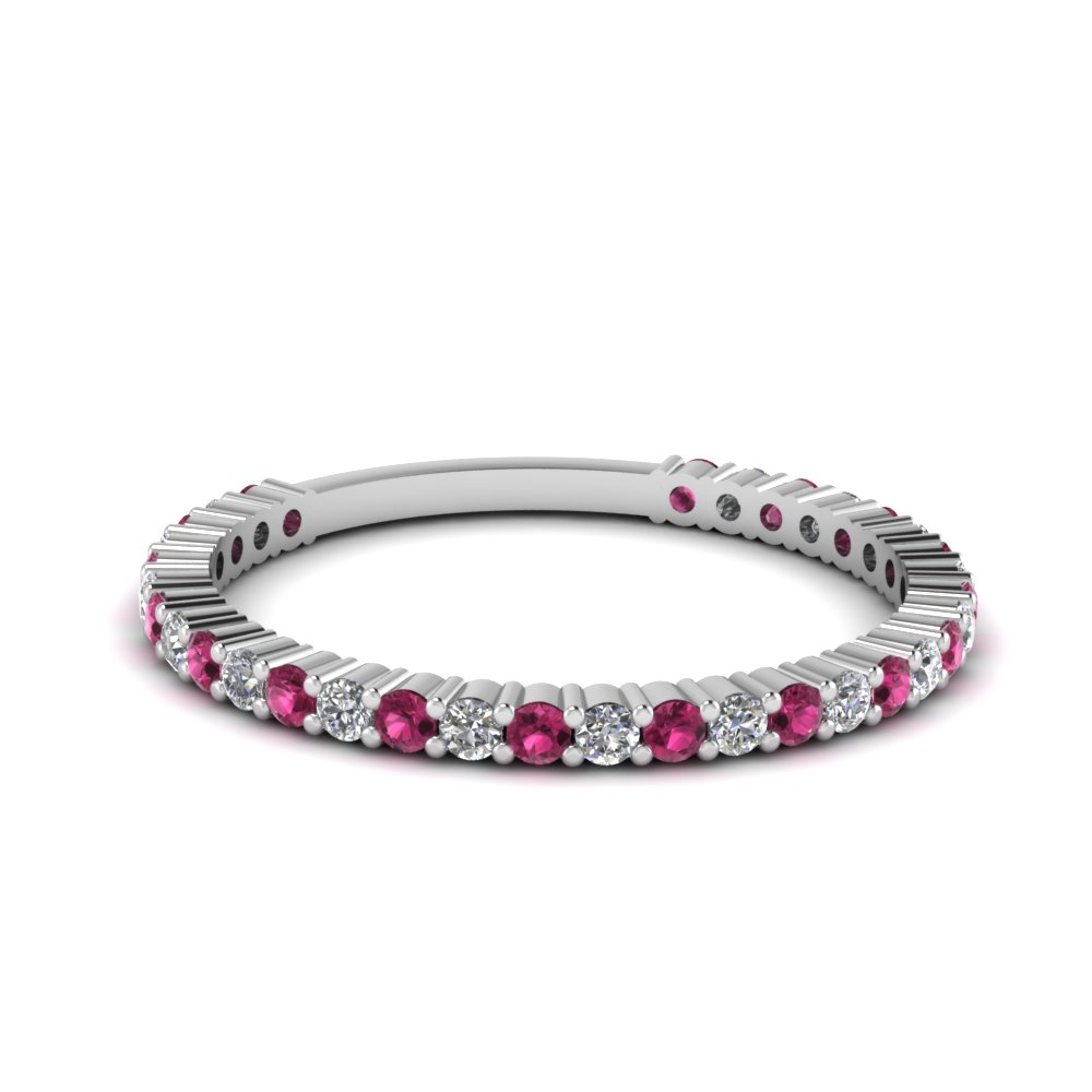 delicate diamond wedding band with pink sapphire in FD121935BGSADRPI NL WG