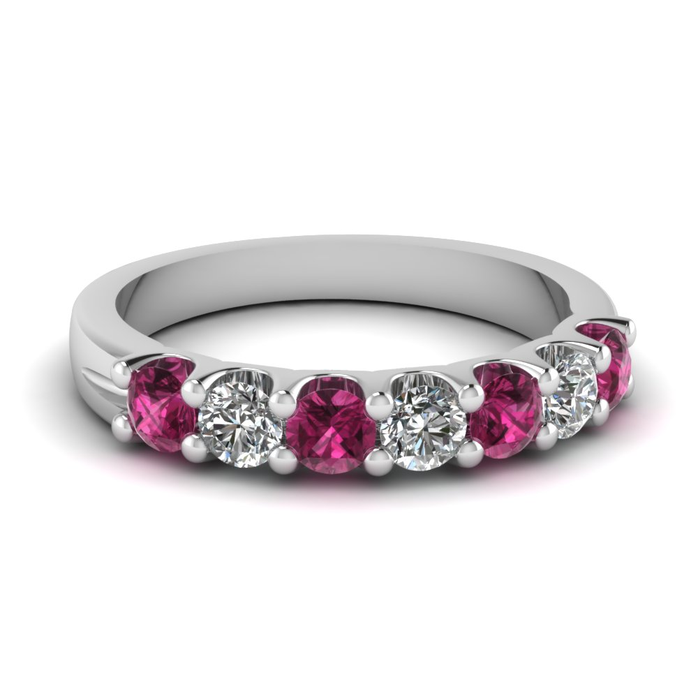 14k white gold pink sapphire wedding band fascinating