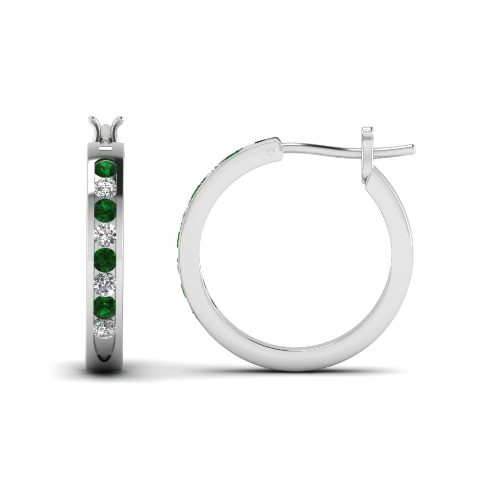 half carat diamond small hoop earring with emerald in FDEAR3970GEMGR NL WG